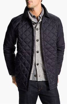 A striking corduroy collar tops a rugged, diamond-quilted jacket detailed with oversized patch pockets and contrast lining. Color(s): navy, rustic/ orange. Brand: Barbour. Style Name: Barbour 'Liddesdale' Quilted Jacket. Style Number: 563226. $$179.00 by nordstrom