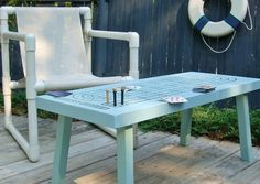 Re-Purposed Table to Cribbage Board Game Tabe - available via TheRightJack on Etsy.- Salt Water Blue Cribbage Board | Handmade Decor For Decorating A Beach House