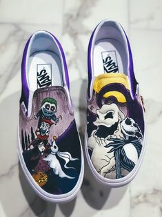 Nightmare Before Christmas Slip On — Nykeria Shoes Custom Vans Shoes, Custom Painted Shoes, Hand Painted Shoes, Disney Painted Shoes, Nightmare Before Christmas, Vans Shoes Fashion, Cute Vans, White Canvas Shoes, Baskets