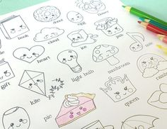 Printable KAWAII ALPHABET Coloring Page- Digital File- Instant Download cute ABCs, cloud, rainbow, h Bullet Journal Ideas Pages, Bullet Journal Inspiration, Art Journal Pages, Realistic Drawings, Cute Drawings, Blog Organisation, Planner Doodles, Create This Book, Posca