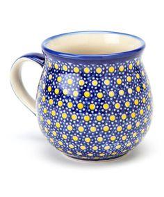Blue & Yellow Polka Dot Bubble Mug by Lidia's Polish Pottery.  I like this pattern