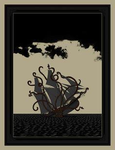 """Dan McCarthy, dark days - 4 color screen print - 25""""x19"""" $40 - may 2009  SOLD OUT"""