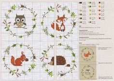 0 point de croix grille et couleurs de fils animaux de la foret (hibou renard ecureuil herisson) en médaillon