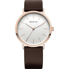 Bering Time - Classic - Unisex Rose Gold Watch w/ Brown Leather Strap... (344.660 COP) ❤ liked on Polyvore featuring jewelry, watches, white dial watches, brown jewelry, red gold jewelry, rose gold jewellery and rose gold watches