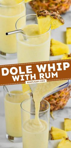 Learn how to make a Dole Whip with Rum! This easy cocktail recipe lets you bring home the magic of Disney — with a grown-up twist. With just 4 ingredients, you can have a frozen drink idea to enjoy anytime! Cocktail Recipes To Impress, Summer Drink Recipes, Easy Drink Recipes, Simple Recipes, Yummy Drinks, Yummy Recipes, Great Recipes, Favorite Recipes, Yummy Food