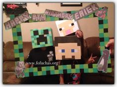This MineCraft frame is for my Son's Birthday party. Characters Creeper,Sheep, Steve from MineCraft are made using cardboard and craft foam sheets. They will be great photo props. See more of my work at www.facebook.com/FofuchasHandmadeDolls #Creeper #MineCraftBirthday #MineCraftSteve#Birthday