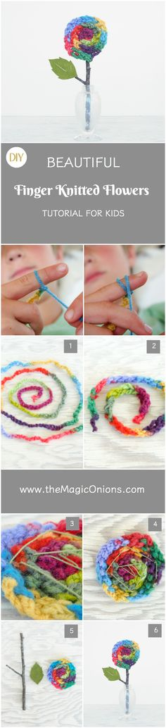 Finger Knitted Flower Tutorial                                                                                                                                                     More