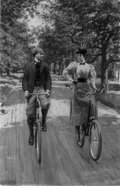 Illustration of cyclists, ca. 1890.