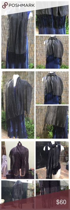 "Elegant vintage black sheer silk scarf w tassels Beautiful.  Dry Cleaned and ready to enjoy.  Can be worn multiple ways.  Wear wide for a sheer look, doubled up for opaque look.  It has a shiny side and a more matte side.  Scarf belonged to my great grandmother.  I believe it is silk but not 100% sure.   18"" wide, 66"" long plus 6"" of tassels on each end. Accessories Scarves & Wraps"