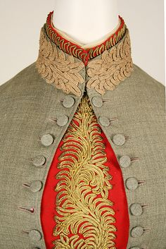 For her wedding to Andrew Carnagie on the evening of April 22, 1887, Louise Whitfield worer a gray wool traveling suit. A practical ensemble, this suit consists of a skirt and two bodices for day wear, as well as an extra set of cuffs, collar, and front insert (or plastron) of gold embroidery on red ground to adapt the suit for more formal occasions.