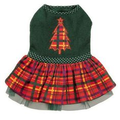 This adorable dog dress is a sweet and festive look for good little girls at holiday time! The colorful plaid also forms an eye-catching applique of a holiday tree, complete with contrast edge stitching and a star on top.