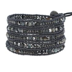 Chan Luu's five gunmetal wrap leather bracelet with a collection woven semi-precious stones, etched metals, and plated nugget accents. Sterling silver Chan Luu