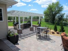 A pergola helps to shade this west facing outdoor kitchen