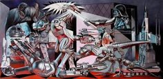 The pop artist and street artist Ron English decided to pay tribute to the famous painting Guernica, created by Picasso in 1937, reinterpreting the masterpiec
