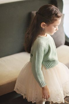 Big tulle skirt with mint green knit sweater | Gorgeous | #kidstylin