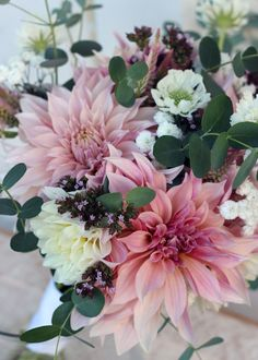 Brides Bouquet.  Cafe Au Lait dahlias and garden flowers.
