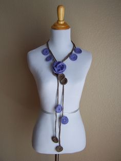 Crochet Lariat Scarf Flower with Purple and Brown Medallions