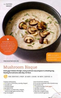 Mushroom bisque (leave out the butter)