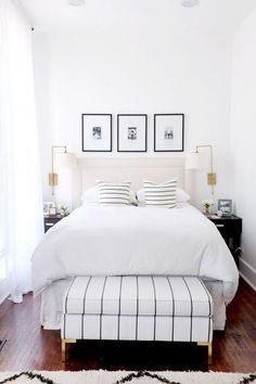 Shop The Everygirl's New Furniture Collaboration! shop our new furniture collaboration with White Bedroom Design, White Bedroom Decor, Home Decor Bedroom, Bedroom Ideas, Bedroom Designs, Bedroom Inspiration, Black White And Gold Bedroom, Bedroom Sconces, Diy Bedroom