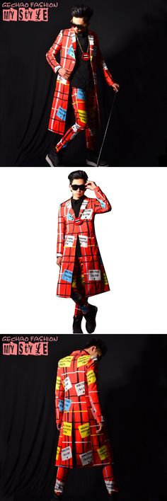 Nightclub Stage Fashion Show Singer Performance Costume Male Red Long Casual Suit Coat and Trouser Men Blazers Jacket