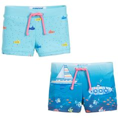 1fe8561d Pack of two, blue swim shorts from Mayoral, designed for younger boys.  Smooth