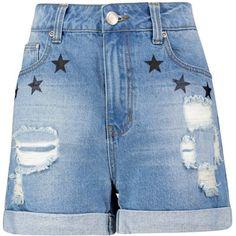 Boohoo Rosina Star Print High Waist Denim Mom Shorts | Boohoo (£8.00) ❤ liked on Polyvore featuring shorts, flat-front shorts, high waisted shorts, high waisted denim shorts, star denim shorts and high-waisted denim shorts
