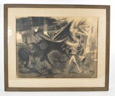 """EDWARD CHAVEZ (MEX/AMER. 1917-1995)  Untitled (abstract animal) Charco on paper, signed CHAVEZ lower left. Dimensions:H24"""" x W29.5"""" paper,H17.5"""" x W23.5""""   Edward Chavez (1917-1995) is definitely an important part of American art history, working through the depression as one of the more successful WPA muralists, then for the U.S. Army painting murals in mess halls during off duty hours, finally becoming one of many artists to call Woodstock home in the years after World War II."""