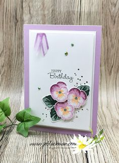 Birthday Cards, Happy Birthday, Cool Cards, Flower Cards, Love Flowers, Pansies, Homemade Cards, Stampin Up Cards, I Card