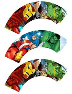 Cupcake wrappers from etsy. Avengers Birthday, Superhero Birthday Party, 6th Birthday Parties, Sons Birthday, Superhero Party Decorations, Party Themes For Boys, Avenger Cupcakes, Imprimibles Toy Story, Cupcake Wrappers