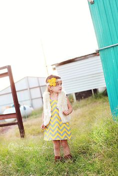 Chevron dress for Avery, love with the boots and fur vest!!