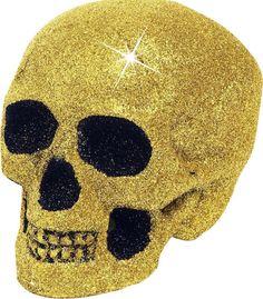 Caveira dourada 19cm: Uma caveira realista e original por as purpurinas douradas e pretas nos olhos. Os dentes são dourados e pretos.Medem 19x14cm.Perfeito para decorar a sua festa de halloween !