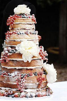 'Naked' wedding cake
