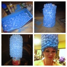 Marge Simpson wig: 2 chef hats doubled high, cotton balls, spray paint, spray adhesive- viola!