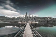 Northern Lights in Jasper - Pyramid Lake, Jasper, Alberta.  www.instagram.com/connorsurdi