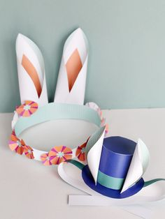 Bunny Ears and top hats - perfect easter spring crafts and DIY paper printable projects from Smallful - download and make right away!