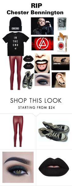 """""""Rest In Peace Chester💔"""" by baltimore-blondie ❤ liked on Polyvore featuring Helmut Lang, Converse, Too Faced Cosmetics, Velvetine, DK and Market"""