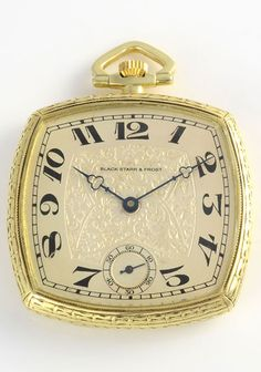 Swiss pocket watch in 14 karat yellow gold open face case with original silver engraved and enamel dial by Black Starr & Frost, circa 1920. 17 jewel movement, movement #25845, case #26956, 40mm case.