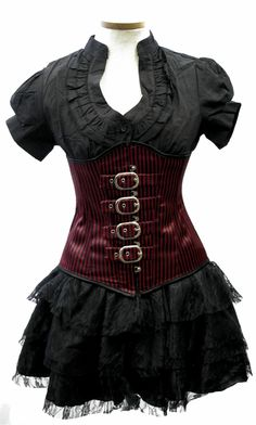 Three piece set consisting of the black ruffled blouse, the red and black buckled corset and the three tier black vampirella skirt. Red And Black Corset, Red Corset, Black Ruffle, Leather Corset, Corset Blouse, Corset Tops, Dress Black, Frilly Dresses, Short Dresses