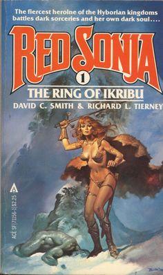 Red Sonja, The Ring of Ikribu. writen by David C. Smith and Richard Tierney. Cover art by Boris Vallejo. Fantasy Book Covers, Book Cover Art, Fantasy Books, Boris Vallejo, Arte Do Pulp Fiction, Zine, Comics Vintage, 3d Chalk Art, Sci Fi Books