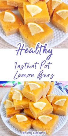 These healthy lemon bars are simple and perfectly tart. The crust is made with coconut flour, eggs, and coconut oil and the light lemon filling is dairy free and refined sugar free. Clean Eating Lemon Bars in the Instant Pot are an easy dessert recipe! #easydessert #cleaneating #healthydessert 21 Day Fix Lemon Bars | 2B Mindset Lemon Bars | Weight Watchers Lemon Bars | Instant Pot Lemon Bars