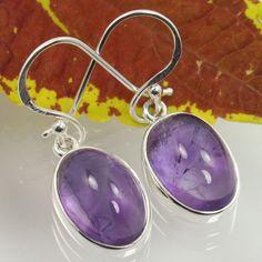 Real Purple AMETHYST Gemstones 925 Solid Sterling Silver Girl's Fashion Earrings #Unbranded #DropDangle