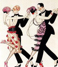 1920's flappers & dandies dancing ART DECO FASHION masterpieces by Gordon Kerr (2012) (please follow minkshmink on pinterest) #flapper #twenties #artdeco #dandy #dandies #charleston #dancing #roaringtwenties