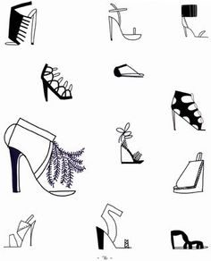 12 different ways to draw different types of shoes from the new book 20 Ways to Draw a Dress!