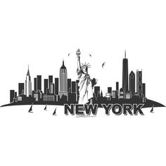 Wandtattoo Skyline New York (53 AUD) ❤ liked on Polyvore featuring accessories, hats and backgrounds