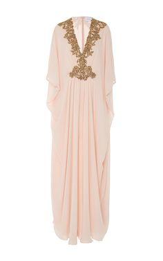 Beaded Neckline Caftan by MARCHESA for Preorder on Moda Operandi