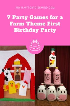 7 great party games and activities for a farm theme first birthday party - Mina Farm Party Games, Toddler Party Games, Farm Themed Party, Barnyard Party, Birthday Party Games, First Birthday Parties, First Birthdays, Farm Games, Farm Activities