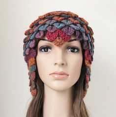 Women's Crochet Hat Autumn Colours Red by MinnaMatildaDesigns