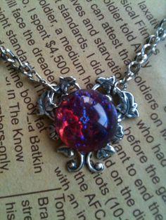 Mexican  Dragon Breath Fire opal necklace by Victorianstudio, $24.89