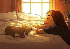 Dog Illustration, Illustrations, Illustration Artists, Living With Dogs, Alone Art, Anime Kunst, Living Alone, Photo Images, Girl And Dog