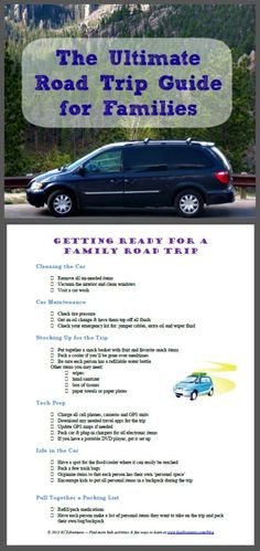 Use this printable road trip checklist to plan your next family vacation or long car trip with kids! Includes travel tips, essentials to bring along, car maintenance and things to bring to keep the kids busy on a long car ride! Road Trip Checklist, Vacation Checklist, Road Trip Packing, Road Trip Games, Road Trip Essentials, Vacation Ideas, Car Checklist, Vacation Games, Vacation Spots